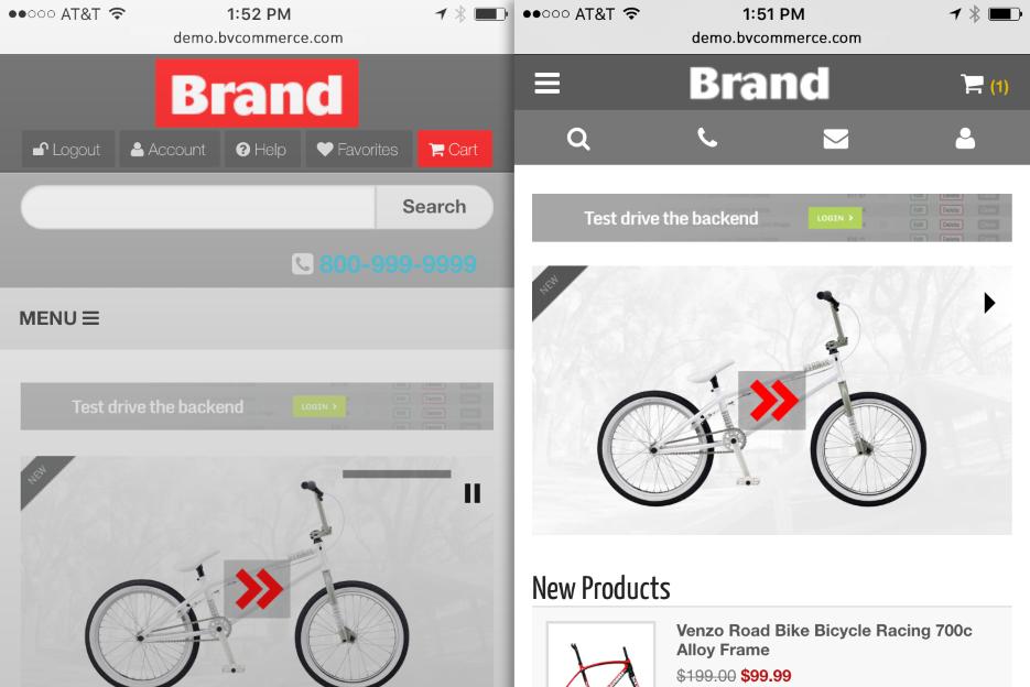 Responsive design screenshots on phone