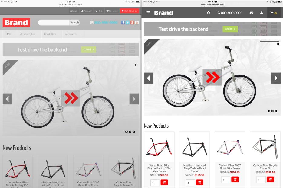 Responsive design screenshots on tablet