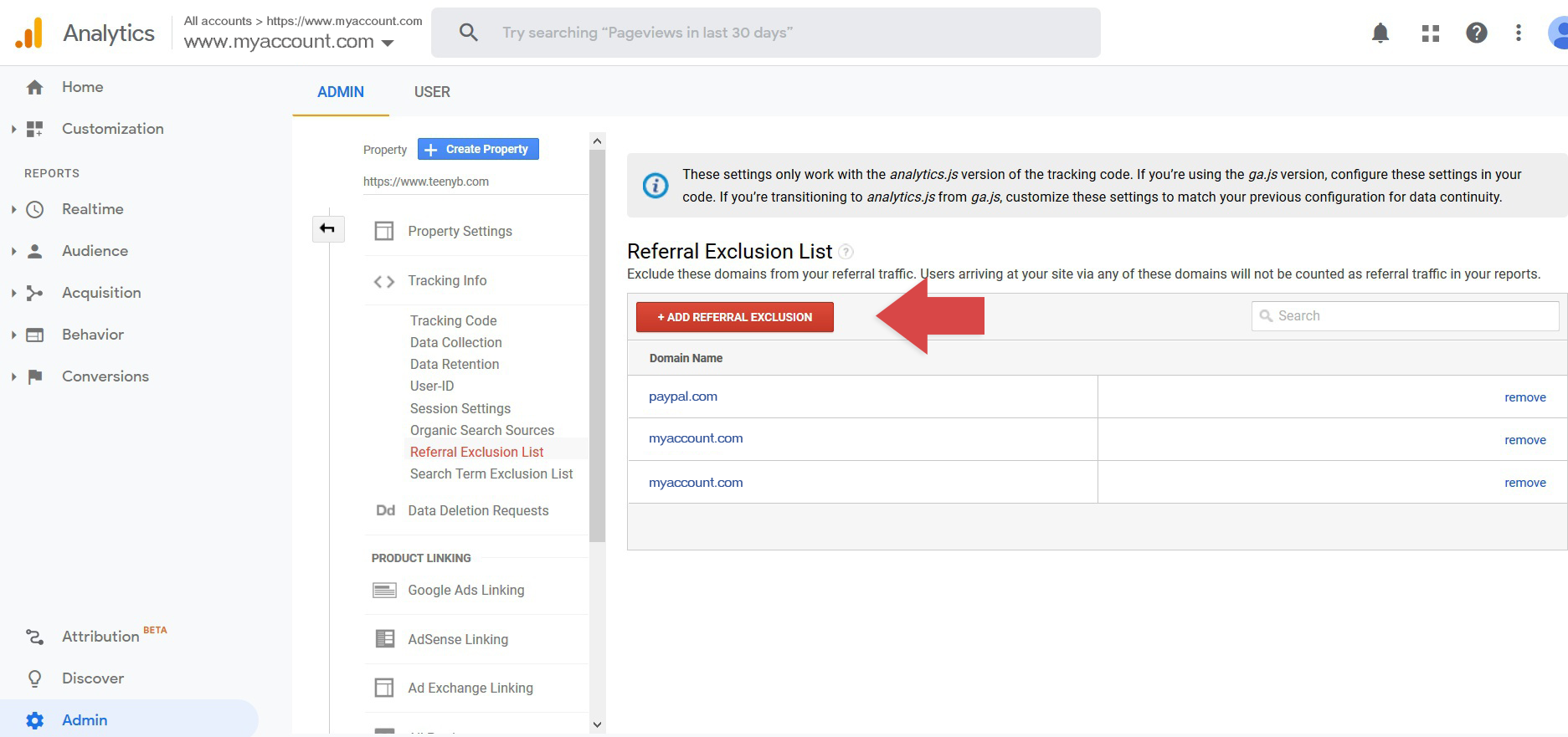 Click the Add Referral Exclusion